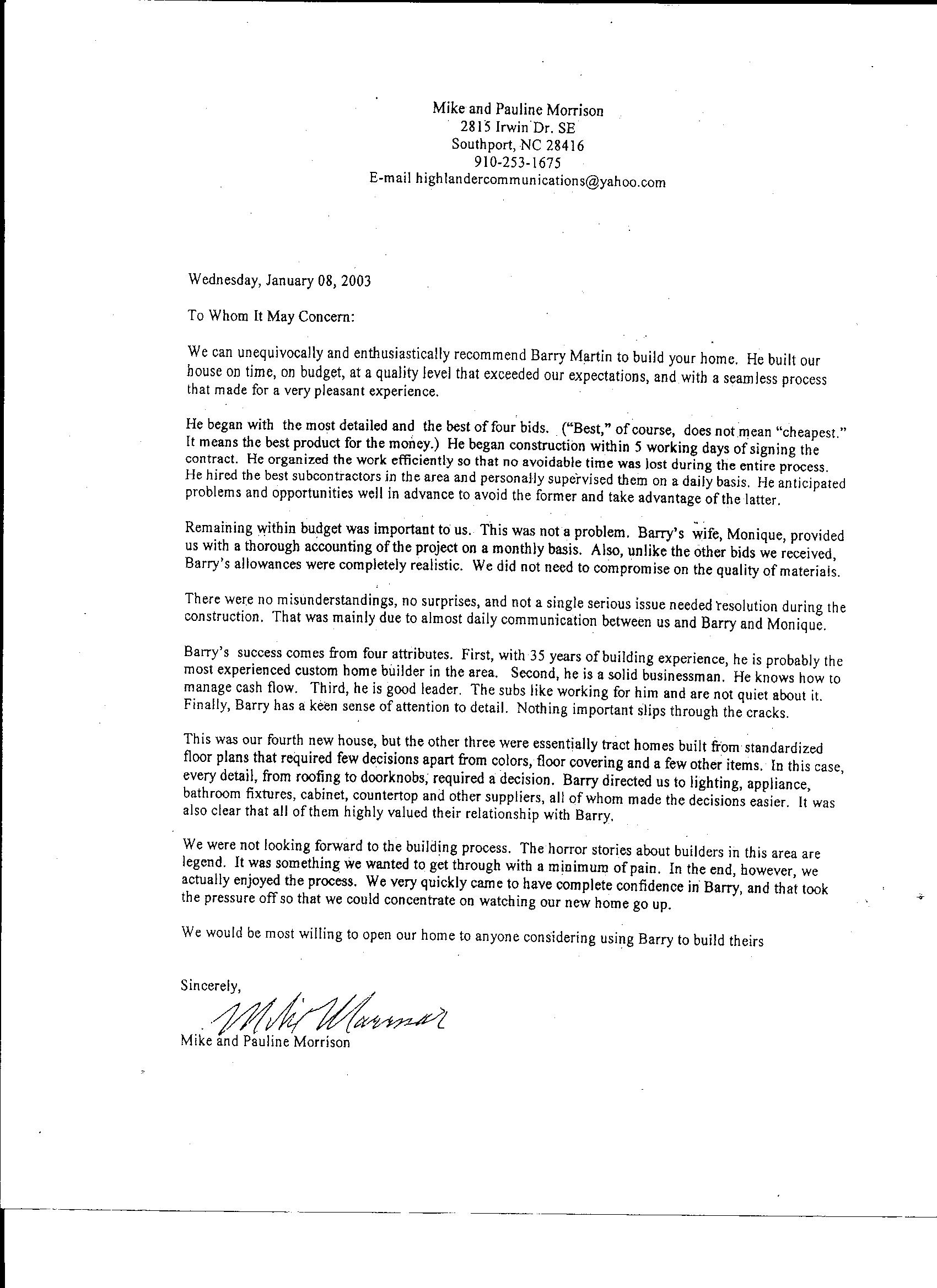 Mcpherson Testimonial Testimonials Southern Shores Development, Llc How To  End A Letter Using Sincerely Solution